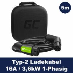 Greencell Elektroauto Ladekabel Typ2 - 3,6kW - 16A -1P - 5m